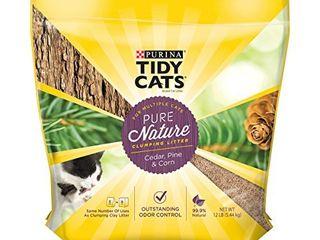 bag has a rip but minimal loss Purina Tidy Cats Natural Clumping Cat litter  Pure Nature Cedar  Pine   Corn Cat litter   12 lb  Bag