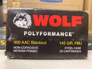 Wolf 300 AAC black out 145 grain full metal jacket 20 count
