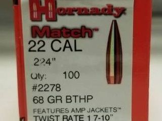 Hornady Match Bullets    22 Caliber  224   68 Grain   BTHP Match   100 Rounds Twist Rate 1 7 10