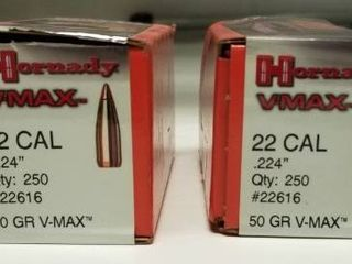 One Full Box and One Partial Box of Hornady VMAX 22Cal Bullets  224  50 Grain VMAX Qty 250 See Pictures