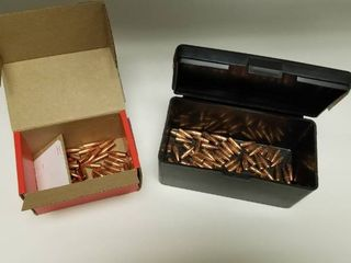One Partial Box of Hornady 22cal  224  55 Gr VMAX Bullets and One Partial Box of Hornady  223 55 grain FMJ BT Bullets