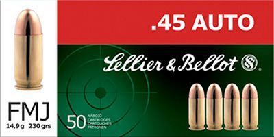 45 230 grain   50 Rounds Sellier   Bellot