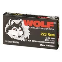 Wolf   223 Remington  55 Grain  FMJ Ammo  20 Rounds