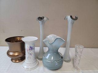 Assortment of Vases  3 Fancy Glass