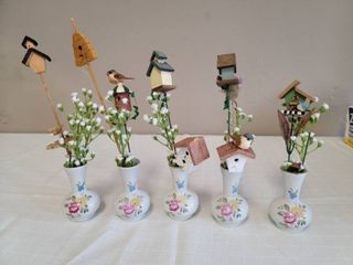 Miniature Porcelain Vases w  Birdhouse Decor