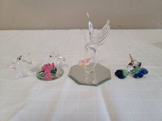 Miniature Glass Bee and Hummingbird Figurines