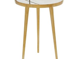 Round light Marble Accent Table Patterned Inlay   Metal Base