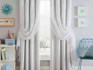 Sparkle 84  Grommet Blackout layered Sheer Window Curtain Panel   White