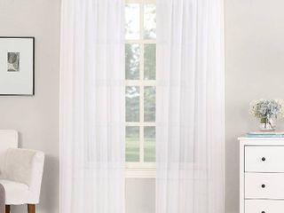 White Rod Pocket Sheer Curtain Window Panel 59  W x 63  l