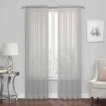 Sheer Voile Window Panel Curtain Set In Silver Gray   Set Of 2 Panels