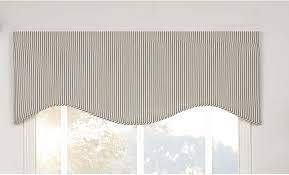 Ticking Stripe Blue Shaped Valance Blue Curtain Topper