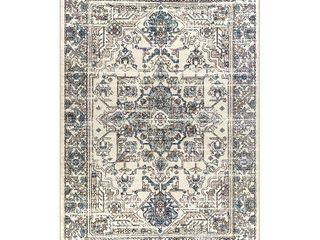 Antique Border Textured Print Area Rug or Runner by Pinewood Grove
