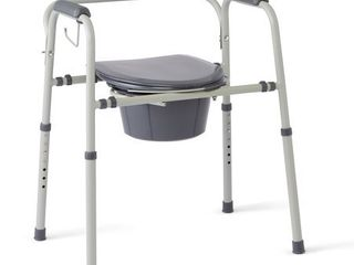 Medline Steel 3 in 1 Bedside Toilet Commode With Microban Antimicrobial  350lb Weight Capacity  Gray Seat