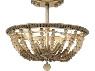 burnished silver finish with wood beads accents 3 light Semi Flush
