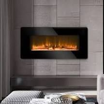 36  Electric Fireplace 2 in 1 logs Wall Mounted or Freestanding Adjustable Heater only Retail 129 99 black