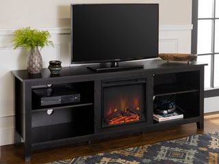 Walker Edison Traditional Fireplace TV Stand only for TVs up to 78    Black
