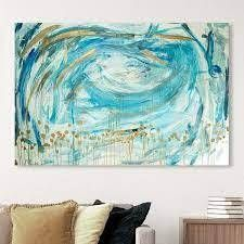 Oliver Gal  Can t Help Falling in love  Abstract Wall Art Canvas Print Paint   Gold  Blue  Retail 125 99