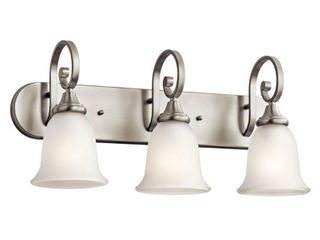 Kichler lighting 45055NI Monroe 3 light Vanity Fixture  Brushed Nickel Finish with Satin Etched Glass