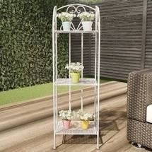 Plant Stand  3 Tier Vertical Shelf Folding Wrought Iron Metal Home and Garden Display with Staggered Shelves by Pure Garden  Retail 96 49