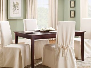 Cotton Duck long Dining Room Chair Slipcover Natural   Sure Fit 4 pc