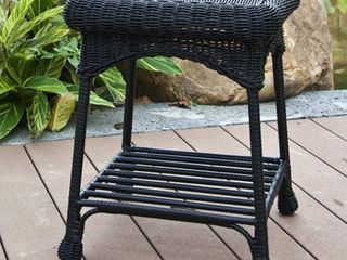 Jeco Wicker Patio End Table only Black