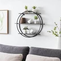 hemsly round 3 tier shelf gray