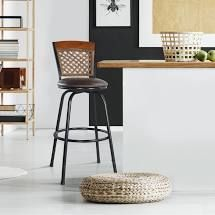 Saint birch baci bar stool 1 only black coating frame brown seat with wicker top