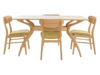 lucious rubberwood dining chairs set of 2 Green Tea Oak