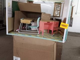 plastic door house with furniture as is