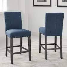 Strick   Bolton Gallaccio 25 inch Blue Fabric Stool  Set of 2    40 H x 18 3 W x 22 3 l  Retail 156 49 dark blue fabric