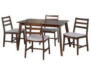 Simple living Charlie Mid Century Solid Rubberwood chairs set of 4 only walnut