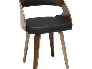 18  Bentwood Frame Mid Century Modern Dining Chair 1 only with Vinyl Back and Seat Cushion Black   OFM