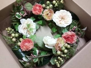 peony ranunculus and berry wreath 24 in