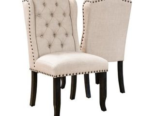 Furniture of America Tays Rustic linen Fabric Dining Chairs  Set of 2  Retail 377 14 beige