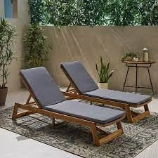 Nadine Outdoor Fabric Chaise lounge Cushion  Set of 2  by Christopher Knight Home   Retail 166 99 dark gray