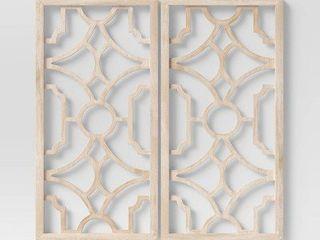 Set of 2 Wood lattice Wall Hanging Brown   Threshold
