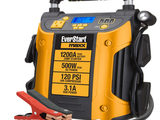 EVERSTART MAXX Jump Starter   Power Station  1200 Peak Battery Amps with 500W Inverter and 120 PSI Compressor  J5CPDE