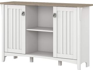 Bush Furniture Salinas Accent Storage Cabinet with Doors in pure white and shiplay gray