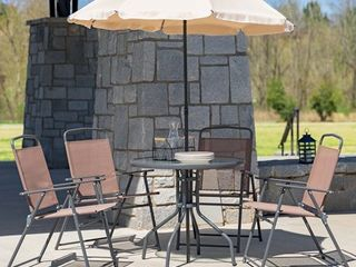 Flash Furniture Nantucket 6 Piece Brown Patio Garden Set with Table  and 4 Folding Chairs