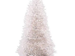 National Tree Pre lit 7 1 2  Dunhill Fir White Hinged Artificial Christmas Tree with 750 Clear lights
