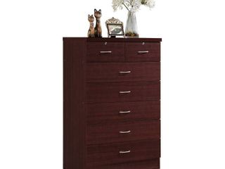 7 Drawer Chest with lock On 2 Top Drawers Mahogany   Hodedah Import