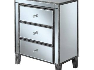Convenience Concepts Gold Coast large 3 Drawer Mirrored End Table  Multiple Finishes DAMAGED