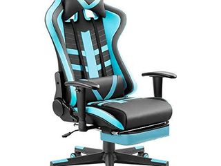 Homall Ergonomic High Back Racing Chair   leather Bucket Seat  Headrest  Footrest and lumbar Support   Black   Blue