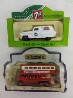 61008 1953 Pontiac Delivery Van  7Up    41002 Trolley Bus Hamley   Die Cast Metal   NIB Damaged