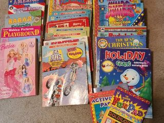 large assortment of coloring books