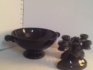 Black Amethyst Glass 3 pieces  A fruit bowl and 2 candle stick holders