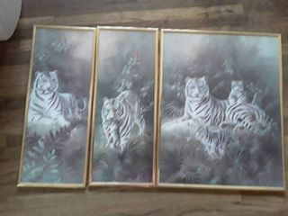 Framed Art  3 pcs  Small Ones are 8 x 20 and the larger is 16 x 20