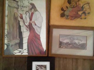 Framed Art  4 pcs  1 is of Jesus Christ