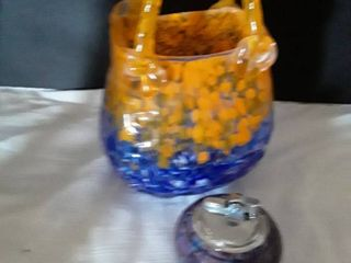 Vintage Table lighter from Holland and a Orange and Blue Glass Vase from China