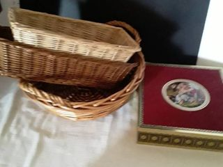A Container from Germany and 3 Wicker Baskets
